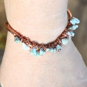Genuine Larimar Cuff Bracelet Copper Handmade